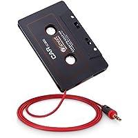 OKCS Kassetten Adapter [2018] - Autoradio Car Tape AUX Adapter für Ihr Auto mit 3,5 mm Klinkenstecker für Smartphones, Tablets, Discman, CD-Player, MP3-Player, UVM. - Schwarz/Rot