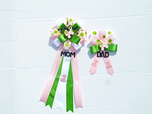 Mod Mom Theme - Mod Baby Shower Girl Themed Corsage for Mom and Dad To Be Carriage Stroller Theme Baby Shower ( Pink, Green &White )