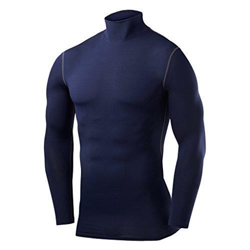 PowerLayer Men's Boys Compression Shirt Long Sleeve Base Layer Thermal Top - Mock Neck - Navy Large