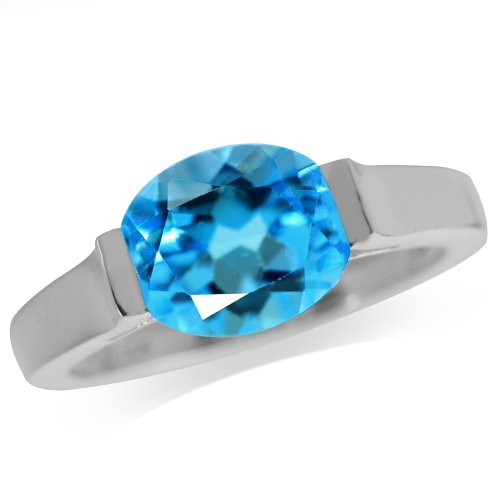 3.11ct. Genuine Swiss Blue Topaz 925 Sterling Silver Solitaire Ring Size 6
