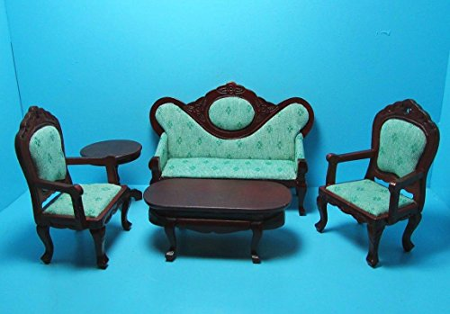 NEW LISTINGDollhouse Miniature Victorian Living Room Sofa, Chairs, Tables Lt Green Mahogany - My Mini Fairy Garden Dollhouse Accessories for Outdoor or House ()
