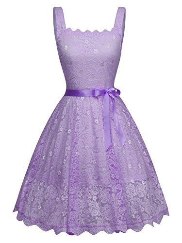 rap Short Lace Bridesmaid Wedding Party Cocktail Dress Bow DL028(S,Lilac) ()