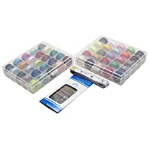 LJY Bobbins Case Organizers and Sewing Thread with Soft Measuring Tape & Needles Set for Brother Babylock Janome Kenmore Singer (50 Assorted Colors)