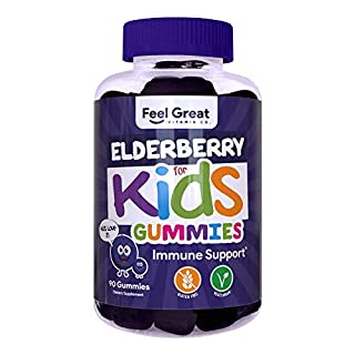 Elderberry Gummies for Kids by Feel Great Vitamin Co. (90 Servings) with Immune Support* | No Gelatin, NO Corn Syrup - Plant & Pectin Based Formula | Vitamin C and Zinc | Sambucus Nigra Supplement