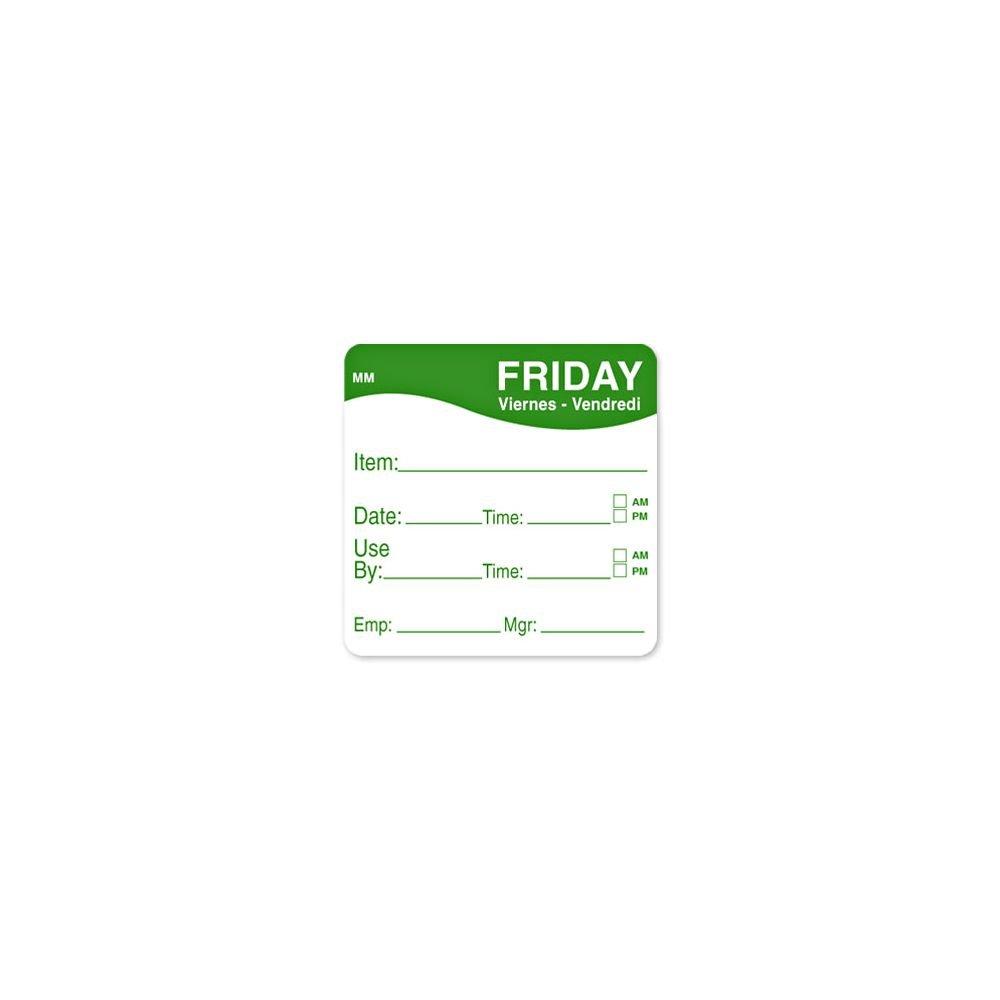 DayMark 1100355 MoveMark 2'' Friday Use By Day Square - 500 / RL