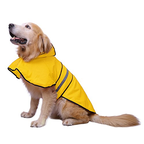 HDE Dog Raincoat Hooded Slicker Poncho for Small to X-Large Dogs and Puppies (Yellow, X-Large)]()