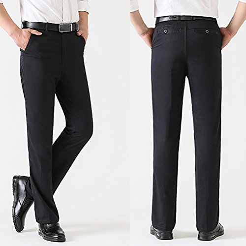 Flat Trousers Pants Trousers Dress Father Suit Front Pants Formal Men Gray Office Designer for Trouser Chino Pocket Zhuhaitf vSFOwq5BO