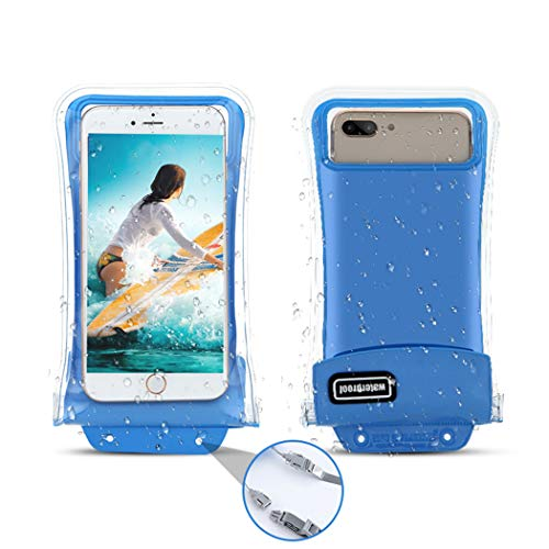 [Floatable] 2Pack Waterproof Phone Pouch,Gihery Triple Insurance Self-Floating Universal Waterproof Phone Case up to 6.3Inch Compatible with iPhone X/8/8p/7/7p/6p and More Phones (Blue)