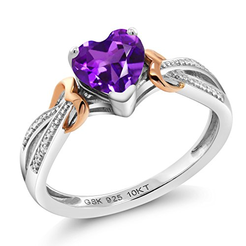 (Gem Stone King 925 Silver & 10K Rose Gold Diamond Ring 0.66 Ct Heart Shape Purple Amethyst (Size 7) )