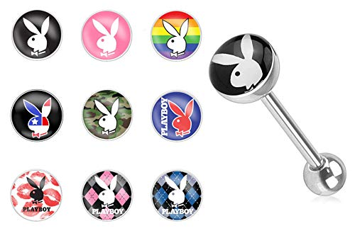 Forbidden Body Jewelry 14g Surgical Steel Playboy Graphic Tongue Piercing Barbells, 9 Pack All Designs