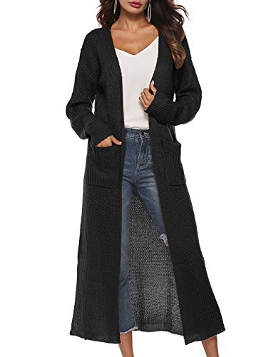 joyliveCY Women's Classic Open Front Lightweight Long Cardigan for Summer Black