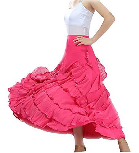 (JS CHOW Women's Elegant Ballroom Spanish Standard Waltz Party Swing Long Dance Skirt (Light Fushia) )