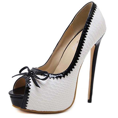 Mujer 39 Zapatos de de Tacón 40 Alto Transpirables Blanco Color Blanco Toe 35 Tamaño Bowknot Sandalias Peep Tamaño xIXwEqTXt