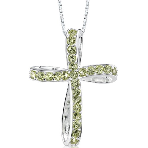 Peridot Cross Pendant Necklace Sterling Silver 1.50 Carats