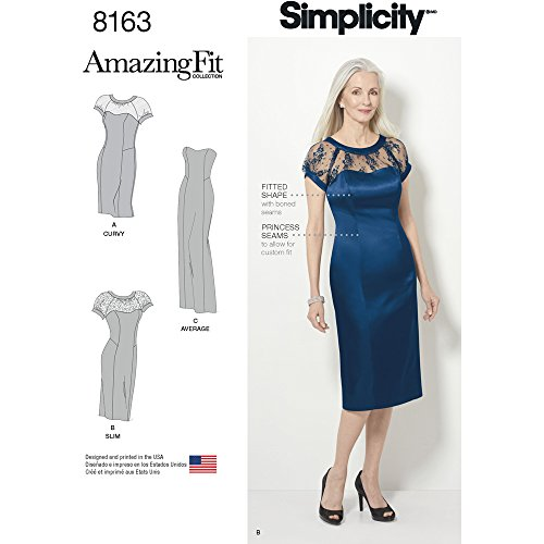 Simplicity 8163 Miss and Plus Amazing Fit Special Occasion Dress, AA (10-12-14-16-18) (Misses Special Occasion Pattern)