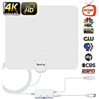 HDTV Antenna, Indoor Digital Amplified TV Antennas 60-90 Miles Range Amplifier Signal Booster for 4K HD 1080P VHF UHF Freeview Local Channels –16.5 ft Coax Cable Support All TVs
