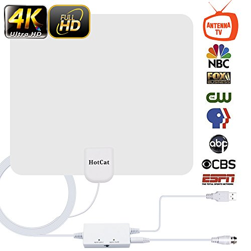 - HDTV Antenna,[Newest 2019] Indoor Digital Amplified TV Antennas 120 Miles Range Amplifier Signal Booster for 4K HD 1080P VHF UHF Freeview Local Channels –16.5 ft Coax Cable Support All TV's