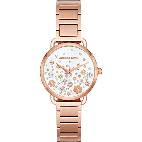 Michael Kors Women's Portia Analog-Quartz Watch with Stainless-Steel Strap, Rose Gold, 14 (Model: MK3841) (Rose Gold Michael Kor Watch)