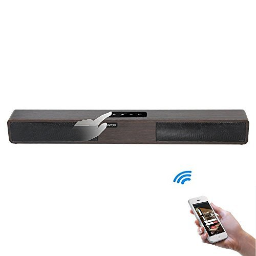 LONPOO Wireless Bluetooth Soundbar Speaker,21-Inch Brown Wooden With Touch Screen Keys Support USB/AUX For LED TV/PC/Smartphone(New Model)
