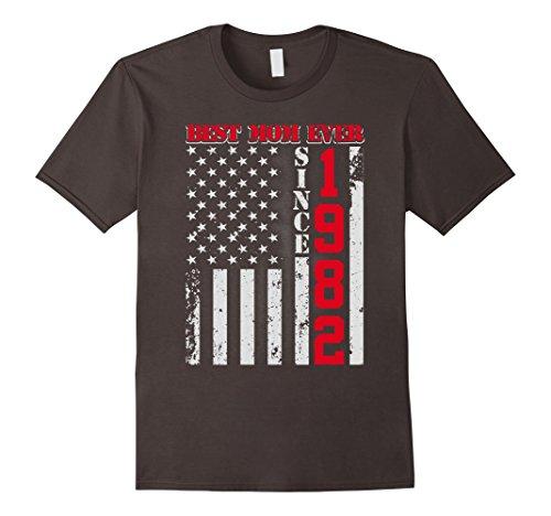 [Mens Best Mom Ever Since 1982 American Flag T Shirt Large Asphalt] (1982 Flag)