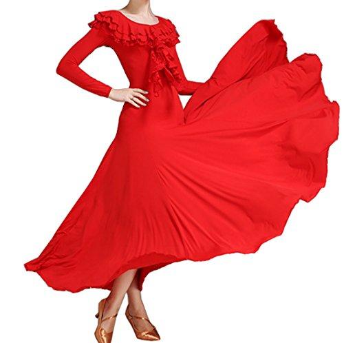 Dress Red Skirt Lotus Modern Dress Cha Multilayer Dress Dress Ballroom Collar Cha Waltz Tango wxRScBF0qB