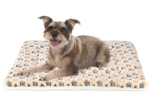 (Mora Pets Ultra Soft Pet (Dog/Cat) Bed Mat Cute Prints | Reversible Fleece Dog Crate Kennel Pad | Machine Washable Pet Bed Liner (24-inch,)