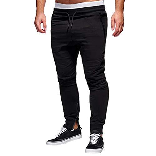 Price comparison product image Hemlock Men Sweatpants Long Cotton Pants Zipper Drawstring Pants Trousers Stretchy Waist Straight Pants