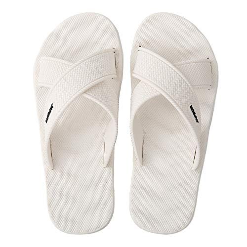WENBER Women's Men's Strap Casual Sandals, Soft Elastic Flat Slides Shoes with Waterproof Arch Support No-Slip Sole for Bathroom Shower Swimming Pool Beach (10 M US/Men, White/Cross/Men)
