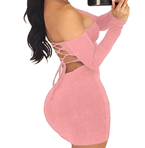 Open Pink Sexy Coolred Back Nightclub Sleeve Long Women Fit Off Shoulder Dress qH0w0ZTg6