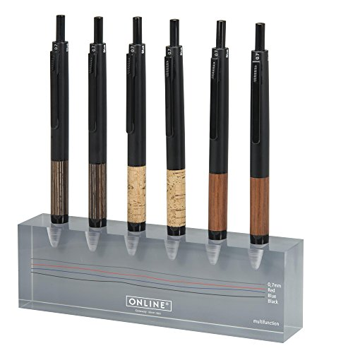 ONLINE Schreibgeräte GmbH Multipen On Counter Display Acrylic Stand (Cork, Rosewood, Maroon) - 6 Ballpoint Pens on Display + 4 Extras Ballpoint Pen, display with 10 multifunction pens (ON31316/10)