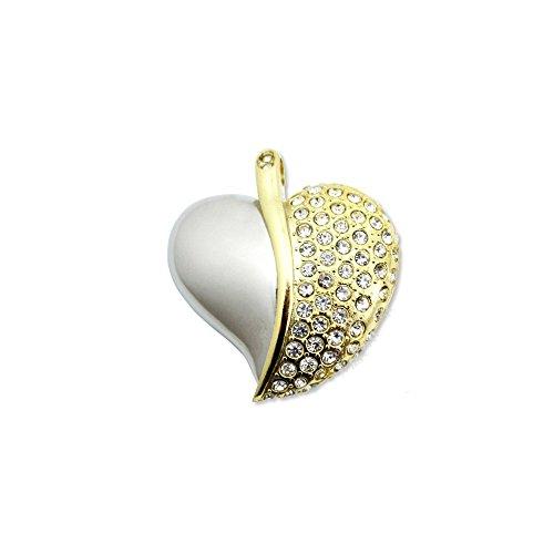 WooTeck 16GB Rhinestone Diamond Metal Heart USB Flash Drive,Fashion Jewelry Bling Shiny Crystal Pendant