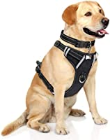 WINSEE Dog Harness No Pull, Pet Harnesses with Dog Collar, Adjustable Reflective Oxford Outdoor Vest, Front/Back Leash...