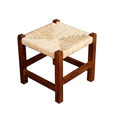 GWM Sofa Stool Household Stools - Solid Wood Square Stool Carbonized Fashion Simple Corn Leather Woven Stool Low Stool Change Shoes Bench Bench Coffee Table Stool