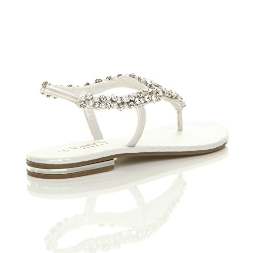 Slingback White Ladies Toe Jewelled Beaded t Womens Flat Size Sandals Diamante Post Bar EOq7Z