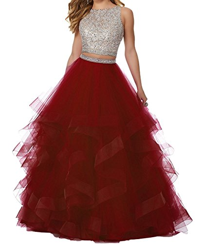 Sweet 16 Dresses Gowns (Ladsen 2108 Sweet 16 Ball Gown Beading Quinceanera Dresses 2 Piece Long Prom Gowns Burgundy US0 Size)