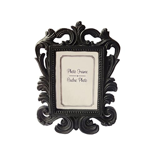 wgg Mini Resin Elegant Photo Frame for Photo, Memo, Name, Place Number Card Holder in Wedding or Party, Home, Office Decorations (Black Baroque)