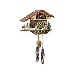 Quartz Cuckoo Clock Swiss house, turning dancers TU 457 QT