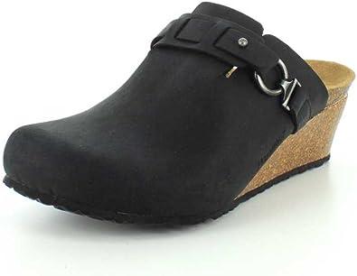 Dana Wedge Black Oiled Leather Clog