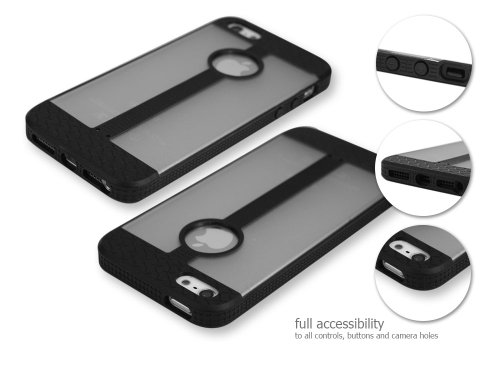 Cellet Tire Case with Black/Frost Clear Textured for the iPhone 5