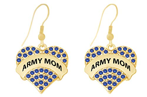 Mothers Day Jewelry Gifts Round Shape Simulated Blue Sapphire Army Mom Heart Dangle Earrings In 14k Yellow Gold Over Sterling ()