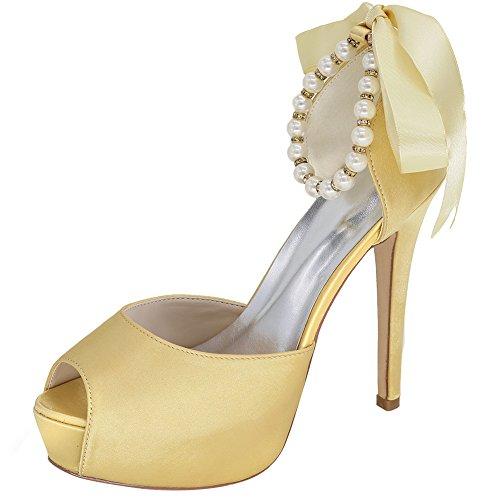 Loslandifen Mujeres Peep Toe Satén Ajustable Perlas Tobillo Correa Cinta Bow High Heel Boda Zapatos De Novia De Oro