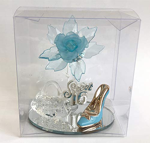 Sweet 16 Party Favor, Gift Turquoise Aqua Blue Acrylic Flower, Purse and High Hill Shoe