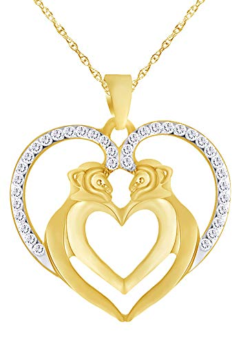 Wishrocks Round White CZ Love Heart Monkey Animal Pendant Necklace in 14K Yellow Gold Over Sterling Silver