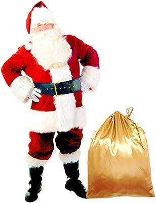 Epsion 10 Pcs Men Santa Suit Accessories, Deluxe Adults Christmas Santa Claus Costume