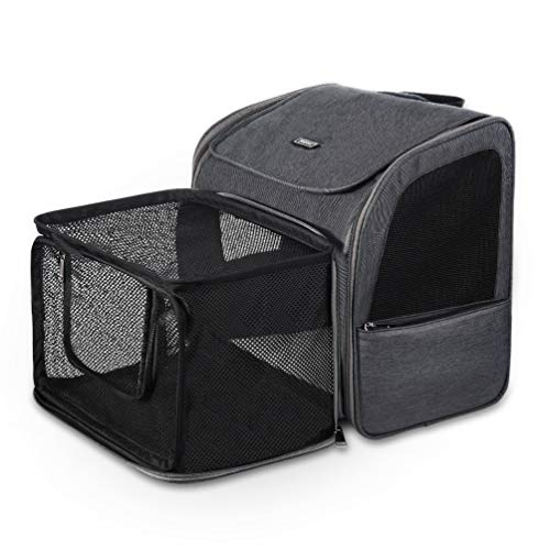 Petacc Pet Carrier Backpack, Dog Cat Carrier Backpack, Expandable with Breathable Mesh, Portable Pet Backpack Bag for Small Dogs Cats Puppies, for Travel Hiking Outdoor Use Hold Pets Up to 15 Lbs