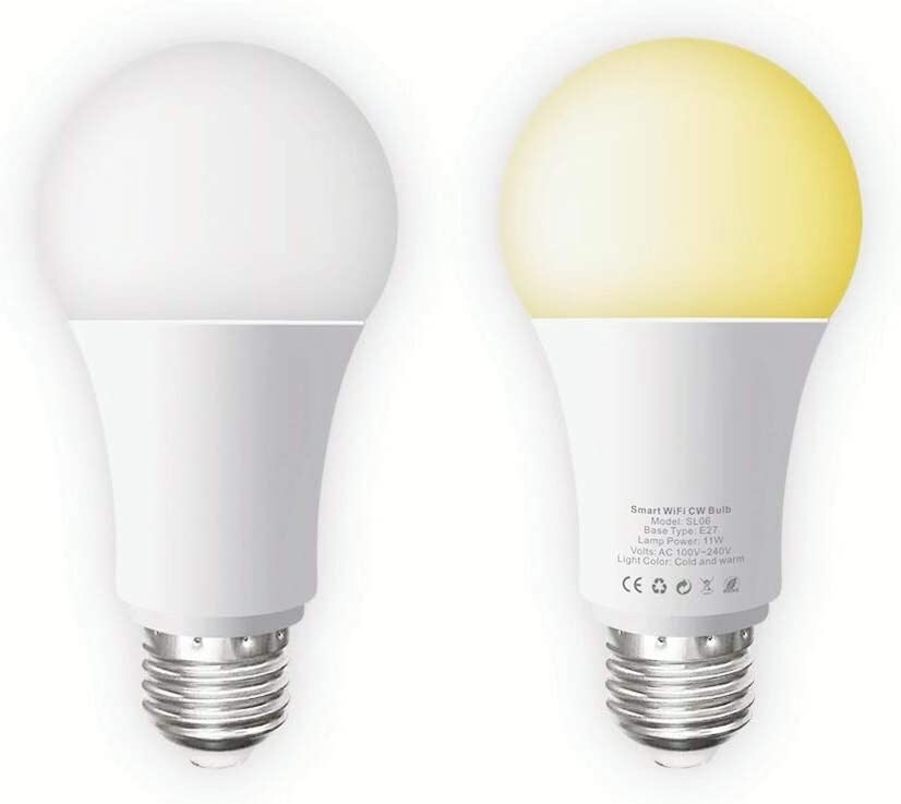 Smart WiFi Bulb E26//E27,LED Bulb Work with Alexa and Google Assistant,No Hub Required Remote Control Household Light Bulb 2Pack Cold and Warm Light 2700k-6500k