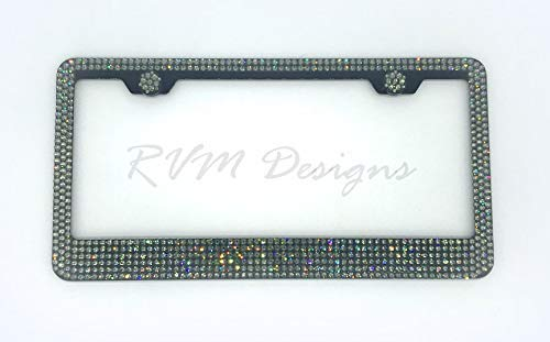 Bling 6 Row Black Metal License Plate Frame made with Black DIamond Swarovski Crystals - Car Jewelry -  RVMdesigns