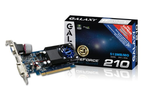 (Galaxy GeForce 210 512 MB GDDR2 PCI Express 2.0 DVI/HDMI/VGA Graphics Card, 21GFE4HX2HUN)