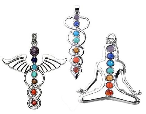 JOVIVI 7 Chakras Natural Quartz Gemstones Beads Pendant Healing Point Chakra Reiki(YOGA&Angel Wings& Holy Sword Style - Gemstone Point Pendant