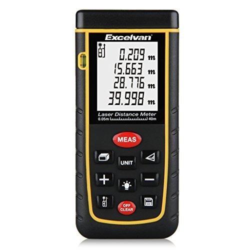 Excelvan® Laser-Entfernungsmesser 0,05-40 m Messbereich +/- 2mm Messgenauigkeit Laser Distanzmessgerät